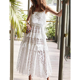 Sheath / Column Cut Out White Holiday Party Wear Dress Spaghetti Strap Sleeveless Ankle Length Lace with Tier Lace Insert 2020