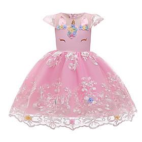 Kids Girls' Active Cute Unicorn Geometric Lace Bow Print Sleeveless Knee-length Dress Blushing Pink