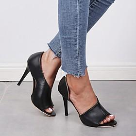 Women's Sandals Summer Stiletto Heel Open Toe Daily PU Pink / Brown / Black