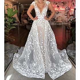 A-Line Wedding Dresses Plunging Neck Sweep / Brush Train Detachable Lace Tulle Short Sleeve Sexy See-Through with Embroidery 2020