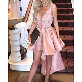 A-Line Sexy Pink Engagement Cocktail Party Dress V Neck Sleeveless Asymmetrical Satin with Ruffles 2020