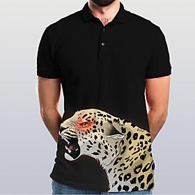 Men's Graphic Animal Slim Polo Basic Elegant Daily Going out Black / Short Sleeve