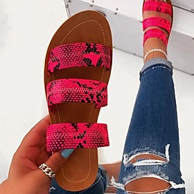 Women's Sandals / Slippers  Flip-Flops Flat Sandal Summer Flat Heel Open Toe Daily PU Black / Fuchsia / Green