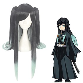 Cosplay Wig Tokitou Muichirou Demon Slayer Straight Asymmetrical With Bangs Wig Very Long Black Synthetic Hair 36 inch Women's Anime Cosplay Ombre Hair Black