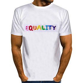 Love wins Men's 3D Blue  White Print T-shirt Basic Exaggerated Daily White