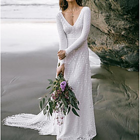 A-Line Wedding Dresses V Neck Sweep / Brush Train Lace Long Sleeve Boho Sexy Backless with Embroidery 2020