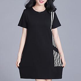 Women's Shift Dress - Short Sleeves Striped Geometric Color Block Summer Casual Street chic Daily Going out 2020 Black Green M L XL XXL XXXL XXXXL