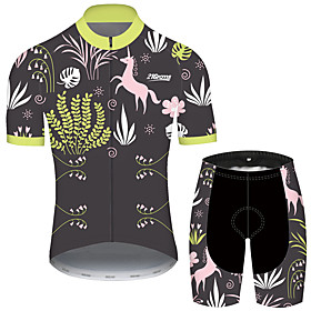 Men's Short Sleeve Cycling Jersey with Shorts GrayGreen Bike UV Resistant Quick Dry Sports Patterned Mountain Bike MTB Road Bike Cycling Clothing Apparel / Str
