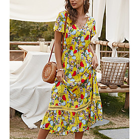 Women's A-Line Dress Midi Dress - Short Sleeve Floral Summer V Neck Casual 2020 Red Yellow Navy Blue S M L XL