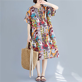Women's A Line Dress - Short Sleeves Print Spring Summer Vintage Mumu Holiday Weekend Loose Linen Gray One-Size