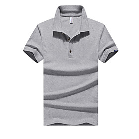 Men's Solid Colored Black Patchwork Polo Basic Daily Work White / Black / Gray
