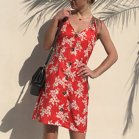 Women's A Line Dress - Sleeveless Print Backless Bow Summer Fall Strap Sexy Street chic Party Beach Belt Not Included 2020 Red S M L XL XXL