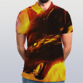 Men's Graphic Animal Wolf Slim Polo Basic Elegant Daily Going out Brown / Short Sleeve
