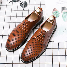 Men's Summer Casual / British Daily Office  Career Oxfords Walking Shoes Faux Leather Breathable Non-slipping Wear Proof Black / Brown