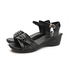 Women's Sandals Wedge Sandals Summer Wedge Heel Open Toe Casual Daily PU Black