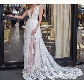 A-Line Wedding Dresses V Neck Sweep / Brush Train Lace Tulle Jersey Sleeveless Beach Boho Sexy See-Through with Embroidery Appliques 2020