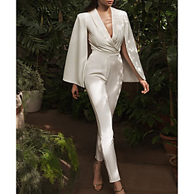 Jumpsuits Wedding Dresses V Neck Floor Length Satin Long Sleeve Simple Sexy Modern with Sashes / Ribbons 2020