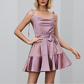 Women's A Line Dress - Sleeveless Solid Color Ruffle Summer Strap V Neck Casual Elegant Holiday Going out 2020 Purple Green S M L / Satin