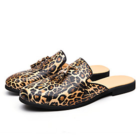 Men's Clogs  Mules Business / Casual Daily Home Walking Shoes Faux Leather / Cowhide Breathable Shock Absorbing Wear Proof Gold Leopard Spring / Summer