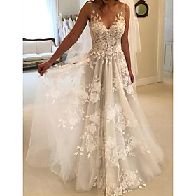 A-Line Wedding Dresses V Neck Sweep / Brush Train Lace Tulle Sleeveless Country Sexy See-Through with Embroidery 2020