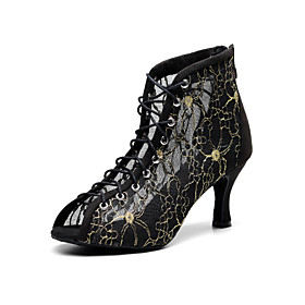 Women's Latin Shoes Heel Flared Heel Lace Splicing Black / Gold / Performance