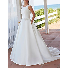 A-Line Wedding Dresses Jewel Neck Sweep / Brush Train Satin Sleeveless Simple with Crystal Brooch 2020