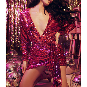 Sheath / Column Hot Sparkle Party Wear Cocktail Party Dress V Neck Long Sleeve Short / Mini Sequined with Sequin 2020
