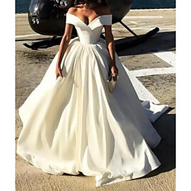 A-Line Wedding Dresses Off Shoulder Court Train Satin Chiffon Over Satin Short Sleeve Sexy with Pleats Pearls 2020