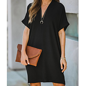Women's A-Line Dress Knee Length Dress - Short Sleeves Solid Color Summer Casual 2020 Black Red S M L XL