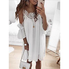 Women's Mini Shirt Dress - Short Sleeves Solid Color Summer Strap Sexy 2020 White Black Blushing Pink Light Blue S M L XL