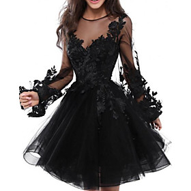 A-Line Floral Black Homecoming Cocktail Party Dress Illusion Neck Jewel Neck Long Sleeve Short / Mini Lace Tulle with Appliques 2020