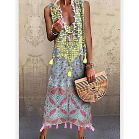 Women's Maxi A Line Dress - Sleeveless Print Summer V Neck Elegant 2020 Green S M L XL XXL