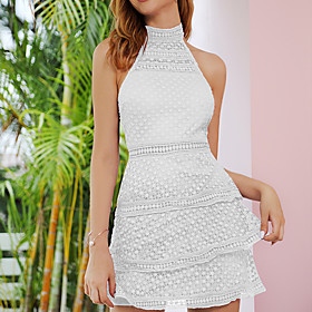 Women's A-Line Dress Short Mini Dress - Sleeveless Solid Color Lace Summer Elegant Boho Holiday Going out Slim 2020 White Purple S M L