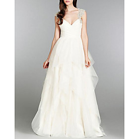 A-Line Wedding Dresses V Neck Sweep / Brush Train Tulle Chiffon Over Satin Cap Sleeve Sexy Backless with Beading Appliques Cascading Ruffles 2020