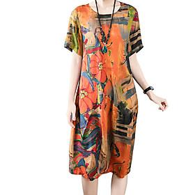 Women's A Line Dress - Short Sleeves Print Summer Fall Casual Slim 2020 Khaki M L XL XXL XXXL XXXXL