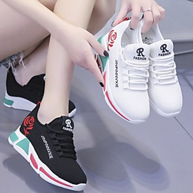 Women's Trainers / Athletic Shoes Summer Flat Heel Round Toe Daily Mesh Running Shoes White / Black