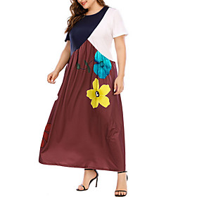 Women's Shift Dress Maxi long Dress - Short Sleeves Floral Color Block Summer Casual 2020 Brown M L XL XXL XXXL