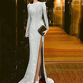 Mermaid / Trumpet Beautiful Back Sparkle Party Wear Formal Evening Dress Jewel Neck Long Sleeve Sweep / Brush Train Sequined with Sequin Split 2020
