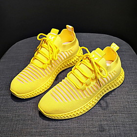 Women's Trainers / Athletic Shoes Spring Summer Flat Heel Round Toe Daily Mesh White / Black / Yellow