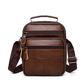 Men's Bags PU Leather Crossbody Bag Zipper Solid Color for Daily Black / Brown