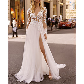 A-Line Wedding Dresses V Neck Floor Length Lace Tulle Long Sleeve Beach Boho Sexy See-Through with Embroidery Split Front 2020