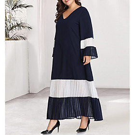 Women's Kaftan Dress Maxi long Dress - Long Sleeve Blue  White Black  Red Color Block Solid Color Pleated Patchwork Basic V Neck Plus Size Casual Flare Cuff Sl