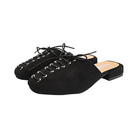 Women's Clogs  Mules Spring   Fall / Spring  Summer Block Heel Round Toe British Daily Lace-up Suede Pink / Khaki / Black