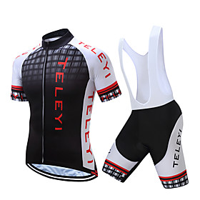 Men's Short Sleeve Cycling Jersey with Bib Shorts Polyester Black White Yellow Plaid / Checkered Bike Clothing Suit Quick Dry Moisture Wicking Sports