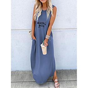 Women's Maxi Shift Dress - Sleeveless Letter Summer Casual 2020 Black Blue Red Khaki Green S M L XL XXL XXXL XXXXL XXXXXL