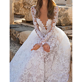 A-Line Wedding Dresses V Neck Court Train Chiffon Lace Long Sleeve Sexy See-Through with Embroidery 2020