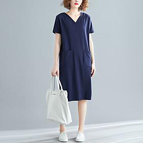 Women's A Line Dress - Short Sleeves Solid Color Patchwork Spring Summer V Neck Casual Elegant Daily Weekend Loose 2020 Black Blue Red XL XXL XXXL XXXXL / Cott