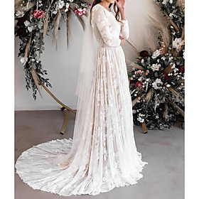 A-Line Wedding Dresses Jewel Neck Sweep / Brush Train Lace Tulle Long Sleeve Sexy See-Through Backless with Embroidery 2020