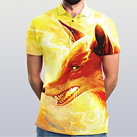 Men's Graphic Animal Slim Polo Basic Elegant Daily Going out Yellow / Short Sleeve