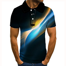 Men's 3D Graphic Polo Basic Daily Shirt Collar Blue / Purple / Red / Green / Light Green / Light Blue / Short Sleeve